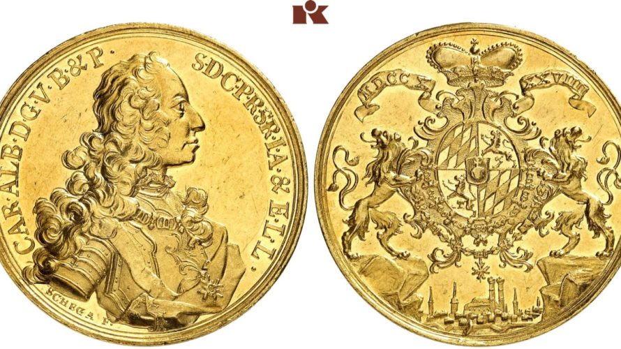 ドイツ バイエルン(ミュンヘン) 1739年 10ダカット金貨 神聖ローマ皇帝カール7世 NGC MS61【入札期限:2020年6月19日】