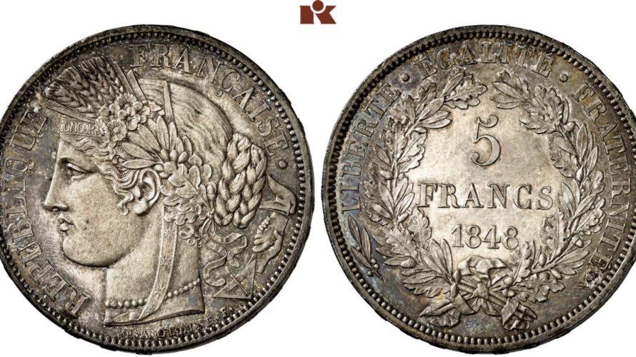 フランス 1848年 試作(ESSAI)5フラン銀貨 女神セレス像 NGC MS66【入札期限:2020年6月19日】