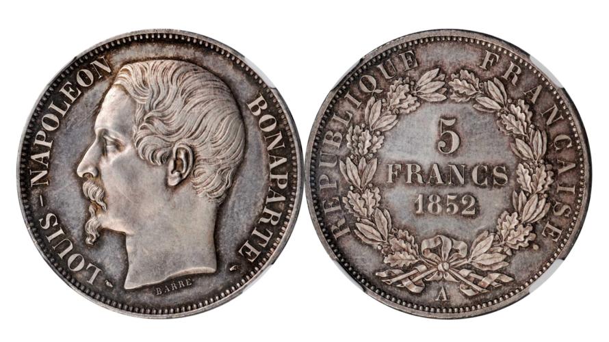 フランス 1852年 ナポレオン3世 5フラン銀貨 プルーフ NGC PF65【入札期限:2020年8月5日】
