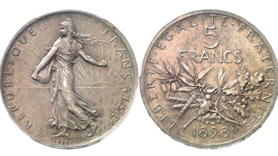 フランス 1898年 ESSAI 5フラン 試作銀貨 PCGS SP65【入札期限:2020年10月26日】